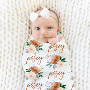 Posey Rust Floral Personalized Swaddle Blanket