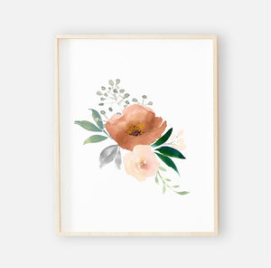 Posey's Rust Floral Digital Nursery Wall Art Print