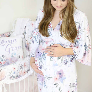 Purple floral soft knit delivery robe