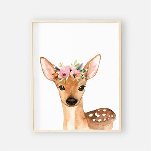 baby boho floral deer wall art