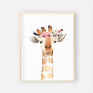 watercolor giraffe with flowers nursery wall print