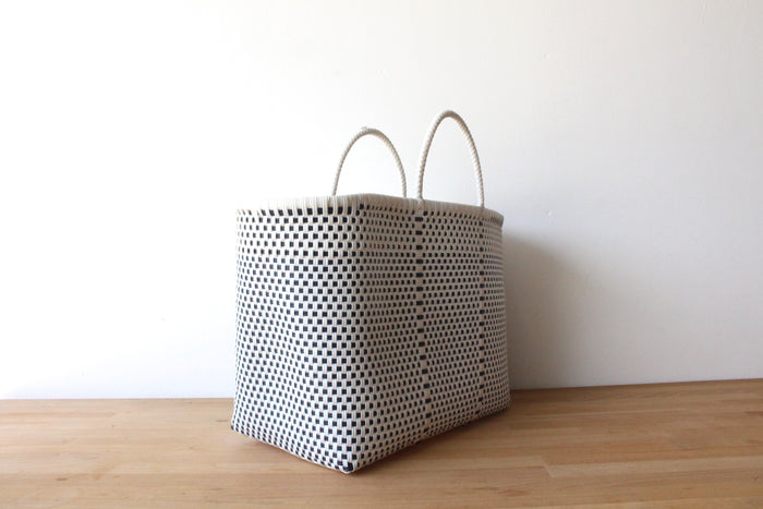 White & Dark Blue Mexican Woven Tote Bag