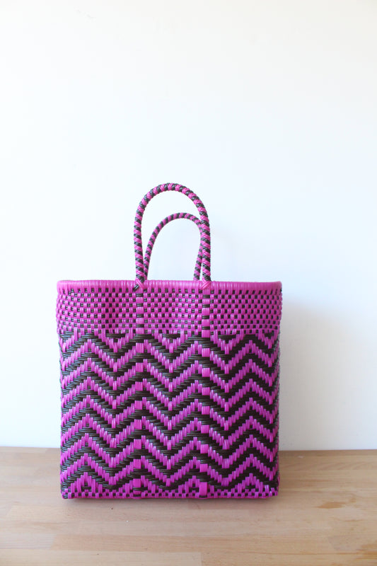 Fuchsia & Brown Mexican Woven Tote Bag