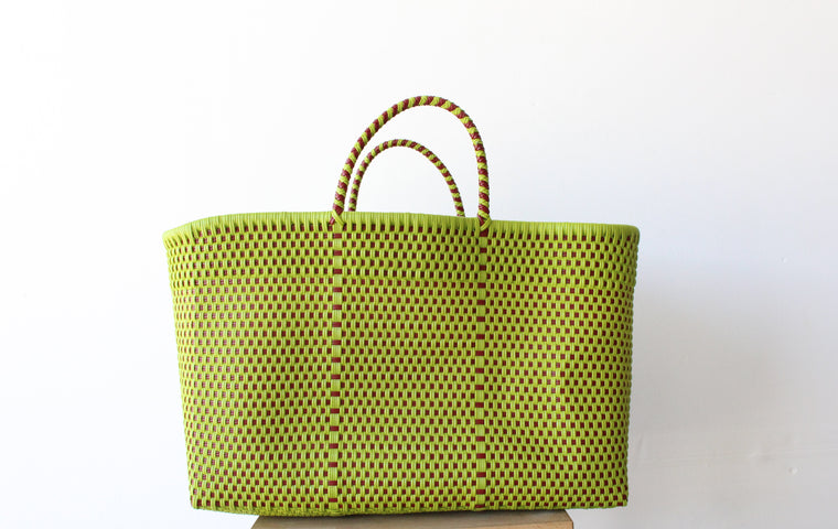 Green & Red Mexican Woven Tote Bag