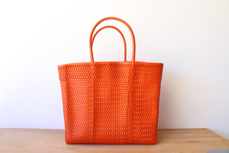 Orange Mexican Woven Tote Bag