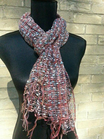 Rose Rust Ice Blue Net Scarf
