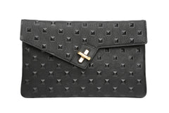 ela milck clutch - stud in black with gold hardware