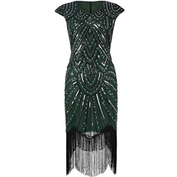 1920S Flapper Dress Crystal Sequin Embellished Fringed Gatsby Dress 2/4 / Luxury Green