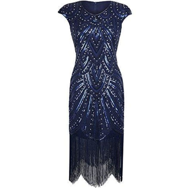 1920S Flapper Dress Crystal Sequin Embellished Fringed Gatsby Dress 2/4 / Luxury Navy