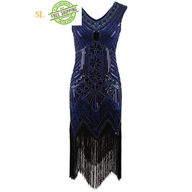 1920S Gatsby Sequin Art Nouveau Embellished Fringed Flapper Dress Back To Search Results For Woman Dre