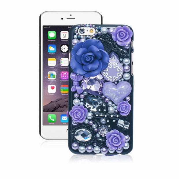 Fashion Pearl Crystal 3D Case For Iphone 6 5 5S 5C 6 Plus Hard Cover Phone Cases For Apple Iphone 6S Case Accessories Protector Purple / For