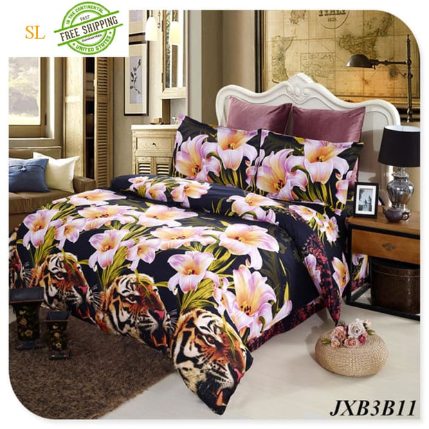 Luxury Washed 100% Polister Luxury Bedding Set 3D Anmail Tiger Peacock Bedding Queen King Size Bedding Sets