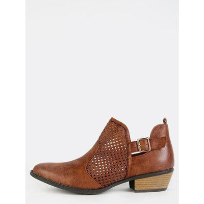 Stacked Heel Mesh Ankle Boots Cognac Boots