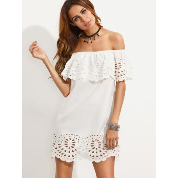 White Cutout Off The Shoulder Ruffle Dress Dresses