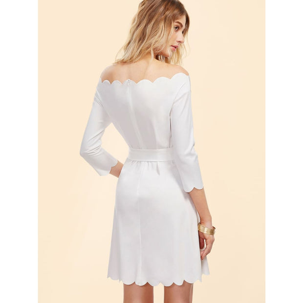 White Off The Shoulder Belted Scallop Dress Dresses