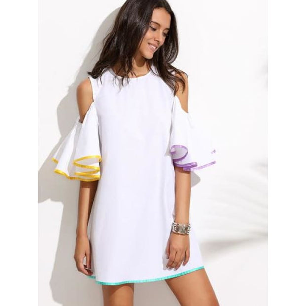 White Ruffle Sleeve Cold Shoulder Dress Dresses