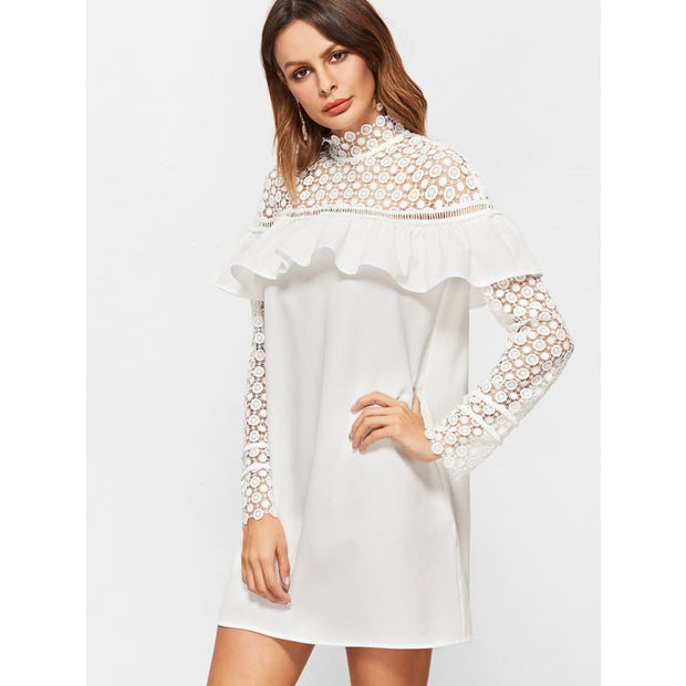 White Sheer Embroidered Lace Shoulder And Sleeve Ruffle Dress Dresses