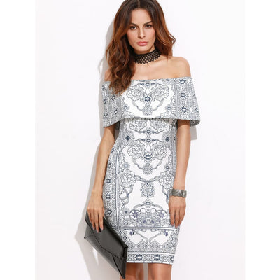 White Vintage Print Foldover Off The Shoulder Bodycon Dress Dresses
