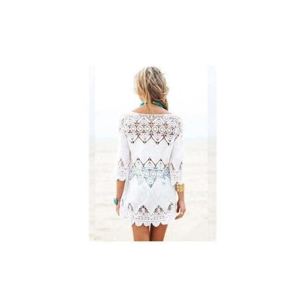 Womens Hollow Out 3 4 Sleeve Crochet Bathing Suit Cover Ups - White