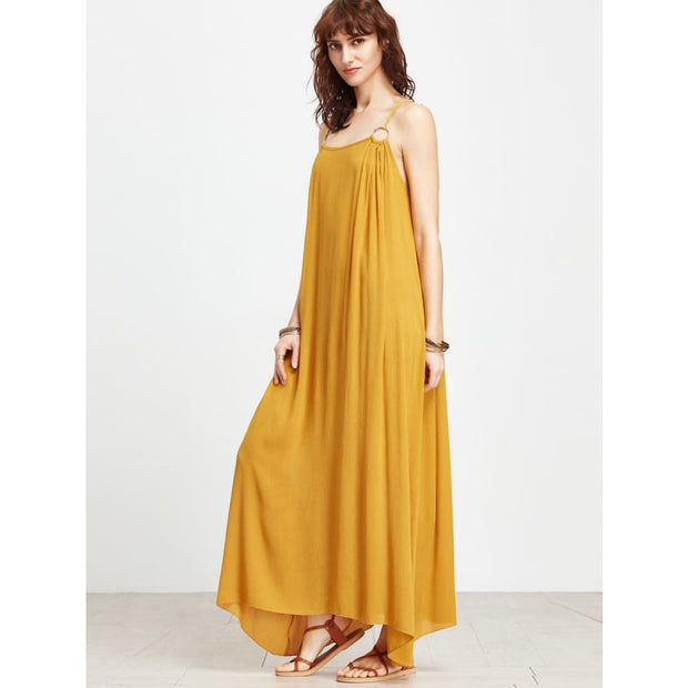 Yellow Spaghetti Strap Maxi Dress With Ring Detail Dresses