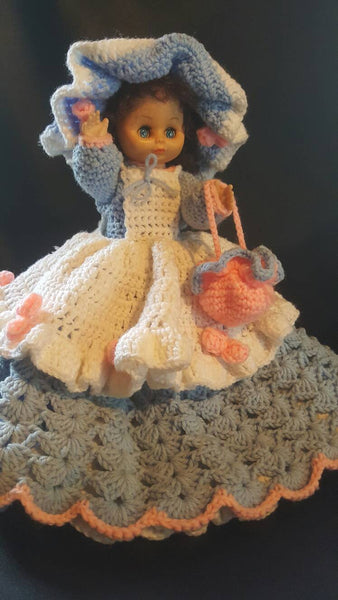 Handmade Doll, Crochet Doll, One of a Kind, Gorgeous Dress, Pretend play, Kids Toys, FREE Shipping!!