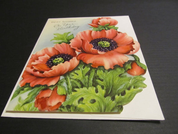 Best Wishes on your BIRTHDAY, Pretty Floral vintage bday, Greeting Card, cards for Her, Save a Tree, Buy Vintage Cards! FREE SHIPPING