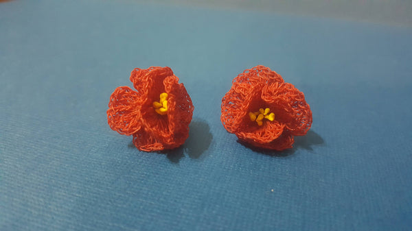 handmade, crochet, Red Flower Rose, Ear Rings, Clip on, gorgeous! FREE Shipping