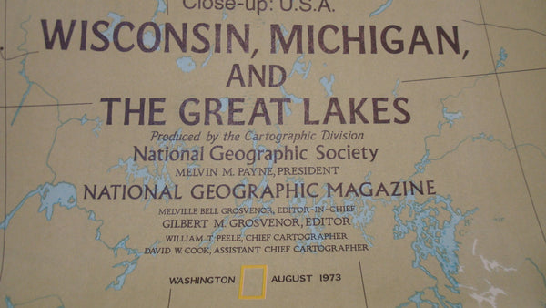 Wisconsin, Michigan and The Great Lakes - National Geographic - Vintage Map