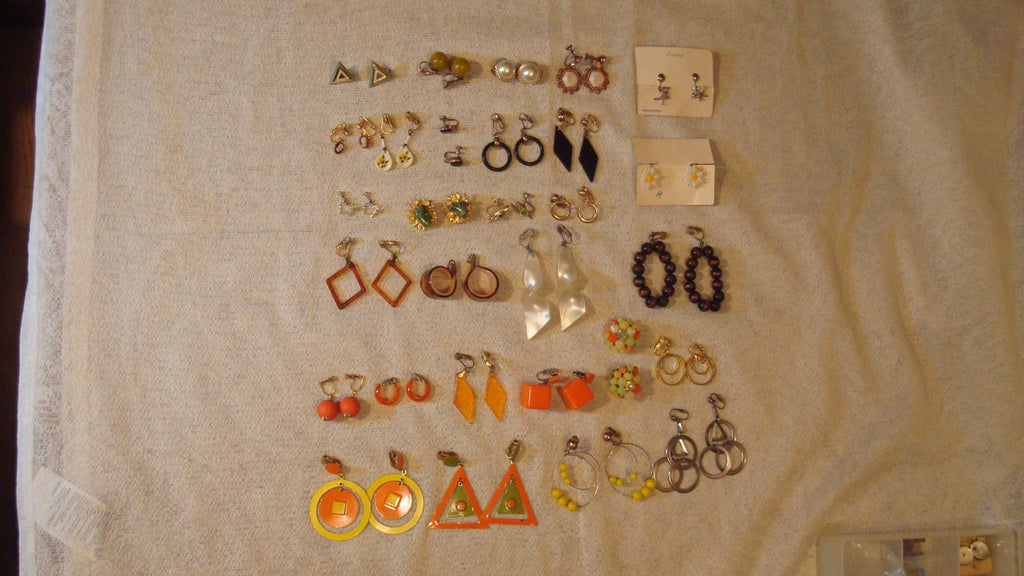 Clip On Ear Rings LOT of 29 pairs - Jewelry Assemblage - Sarah Coventry