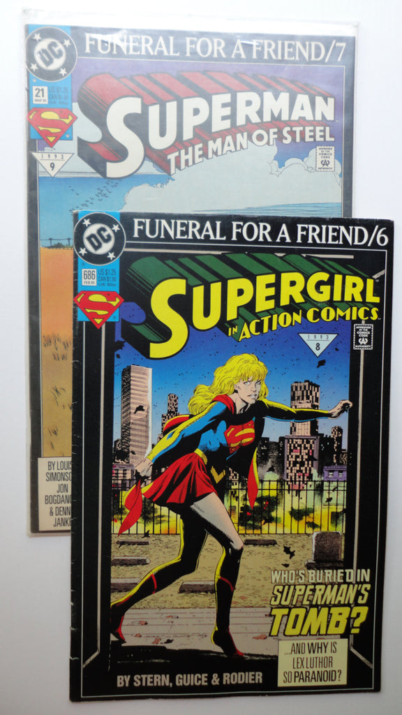 Superman & Supergirl Vintage 1993 Comic Books, Funeral for a Friend 6/7