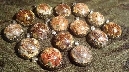 Custom Small Vortex Coil Pendants. Fingerprint Orgonite