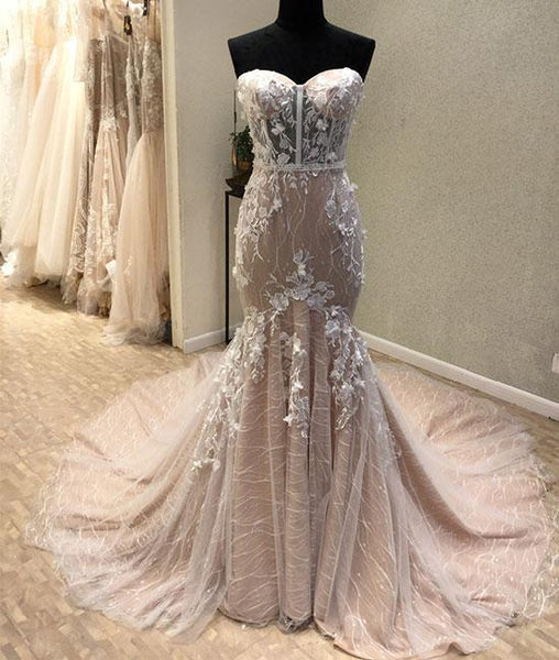 Mermaid lace tulle long prom dress, lace evening dresses,PD13011