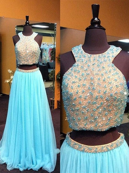 blue Prom Dress,long Prom Dress,two pieces Prom Dress,beaded Prom Dress,charming evening Dress, BD2992 - dream dress