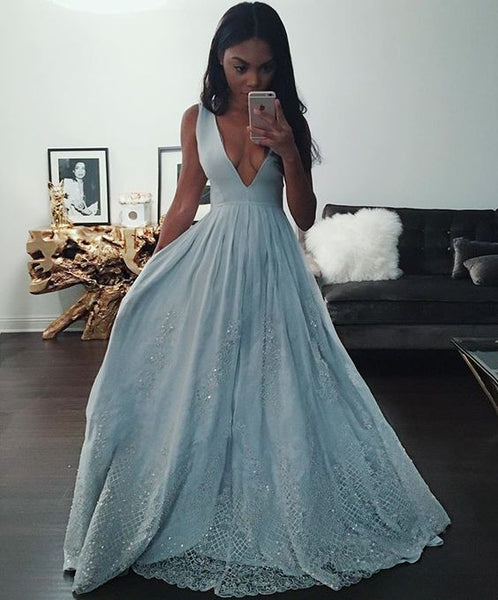 blue Prom Dresses,V-neck prom dress,charming prom Dress,party prom dress,evening dress,BD0405 - dream dress