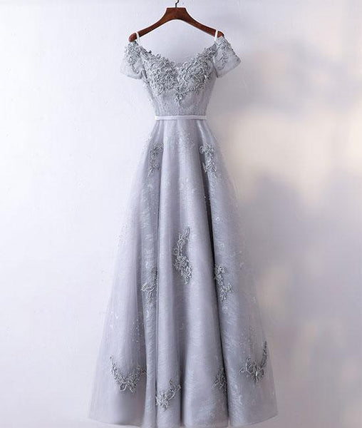 Gray v neck tulle lace applique long prom dresses, lace evening dresses,PD190004