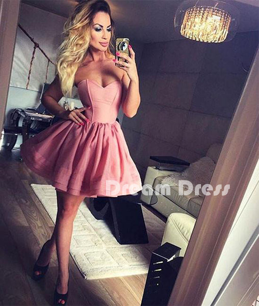 Cute sweetheart pink short prom dress, cute homecoming dresses,PD250003