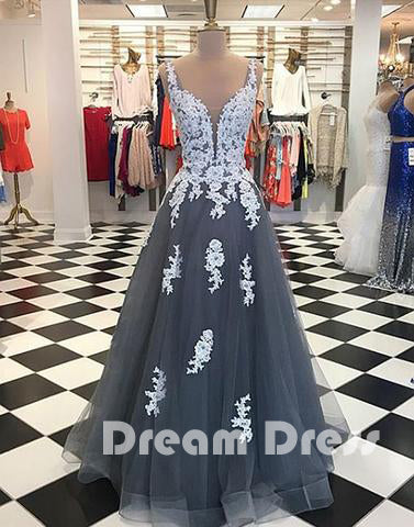 Gray tulle lace long prom dresses, lace evening dresses,PD280001