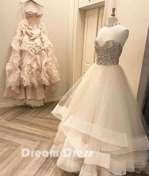 Cute white tulle long prom dresses, white formal dresses,PD290008