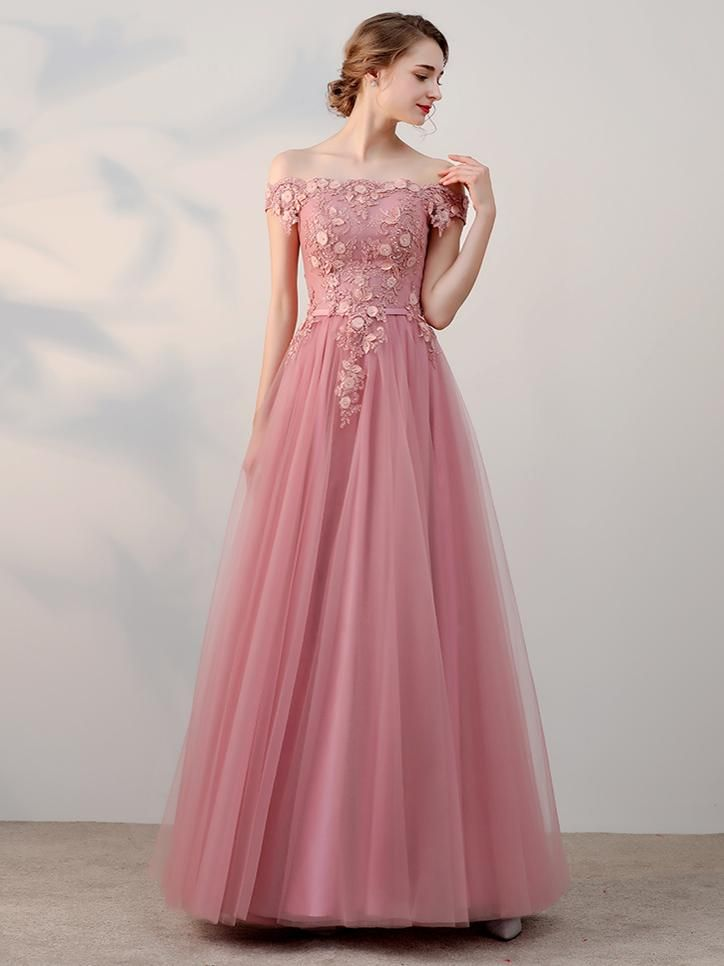Chic A-line Off-the-shoulder Pink Applique Tulle Modest Long Prom Dress Evening Dress,PD2002