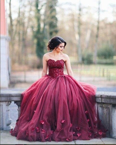 burgundy prom dress,strapless Prom Dress,A-line prom dress,gorgeous prom dress,ball gown,BD1350 - dream dress