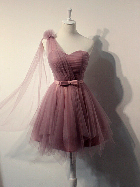 One shoulder prom Dress,Cheap Prom Dresses,Party dress for girls,Tulle prom dress,homecoming dress,BD369 - dream dress