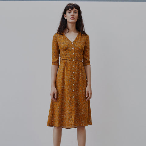 2019 New Summer Dress Simple Retro Vintage Floral Print Slim Wraping Midi Pencil