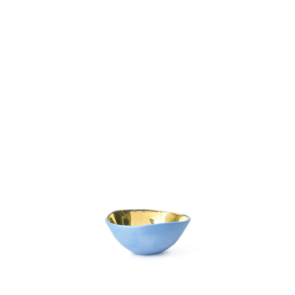Full Painted Blue Ceramic Bowl with Gold Glaze, 6cm