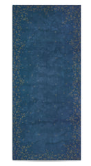 Bernadette's Falling Flower On Full Field Linen Tablecloth in Deep Blue & Gold