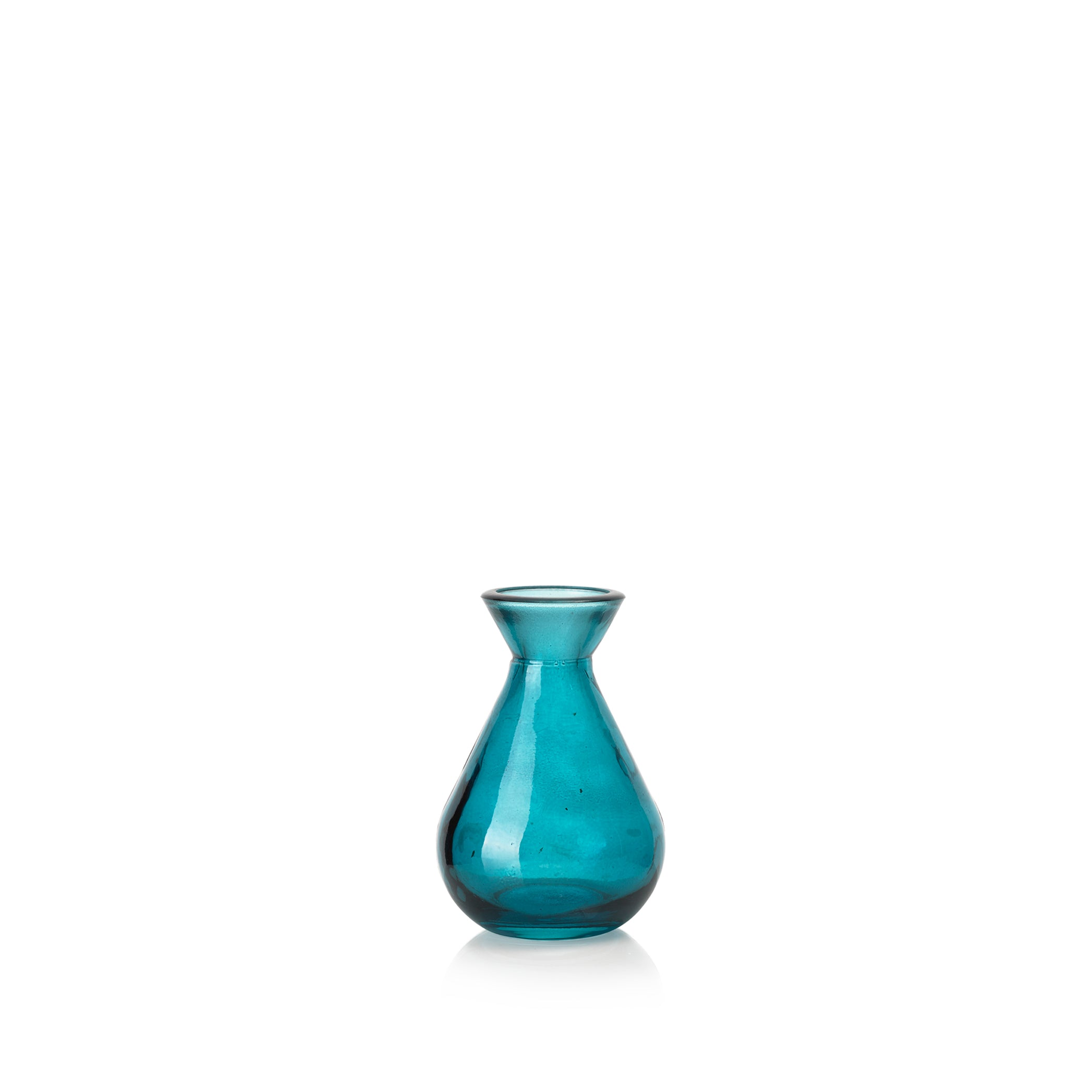 Recycled Glass Bud Vase in Turquoise