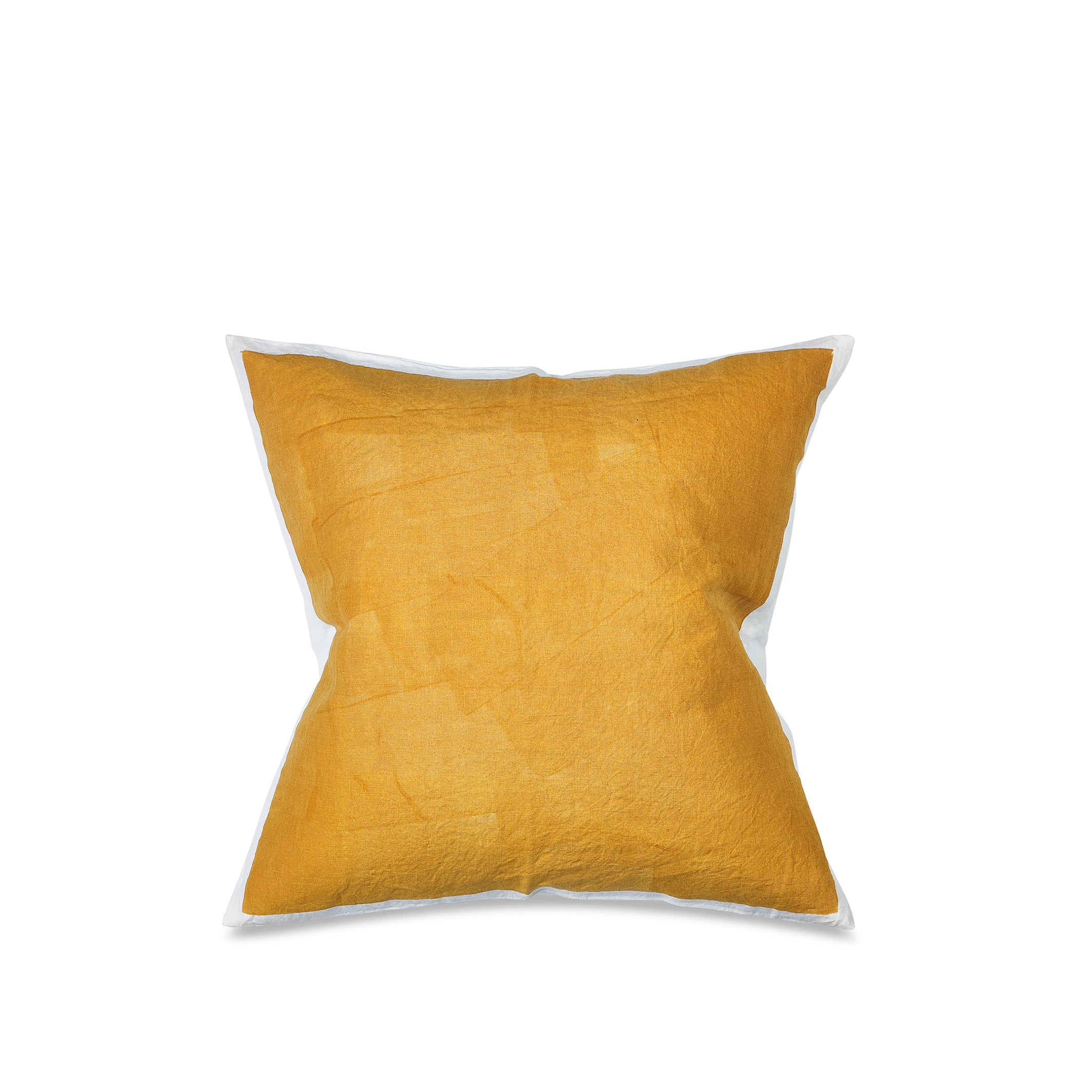 Hand Painted Linen Cushion Cover in Mustard Yellow, 60cm x 60cm
