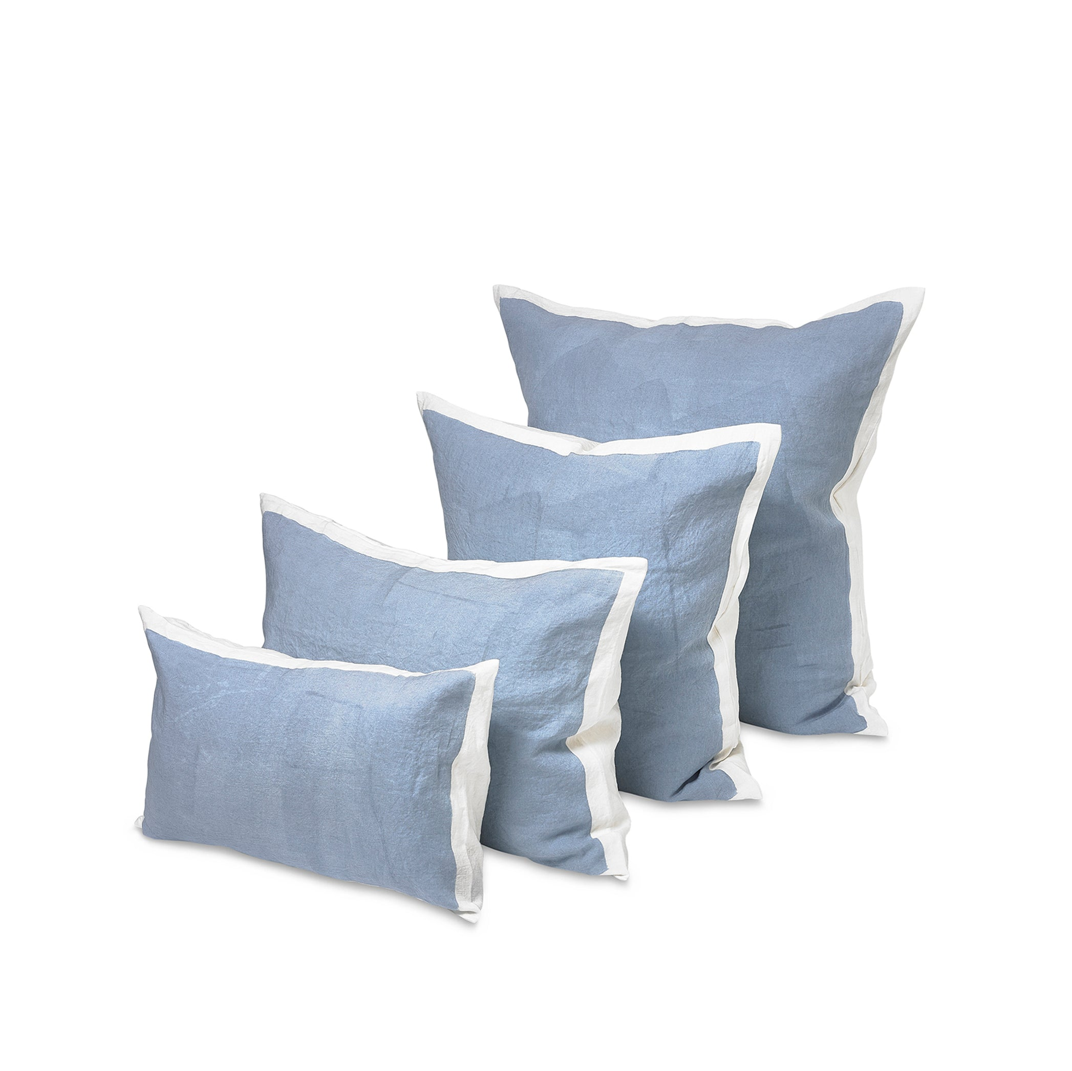 Hand Painted Linen Cushion Cover in Pale Blue, 50cm x 30cm
