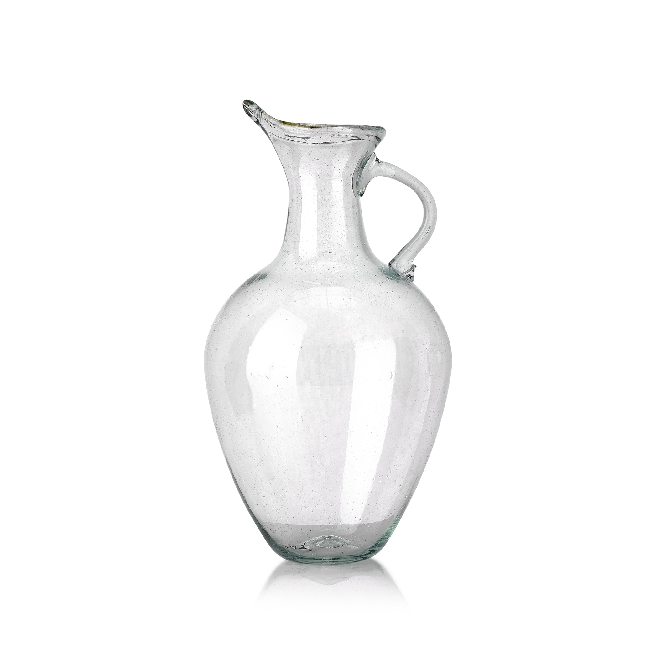 Handblown Glass Teardrop Jug with Handle