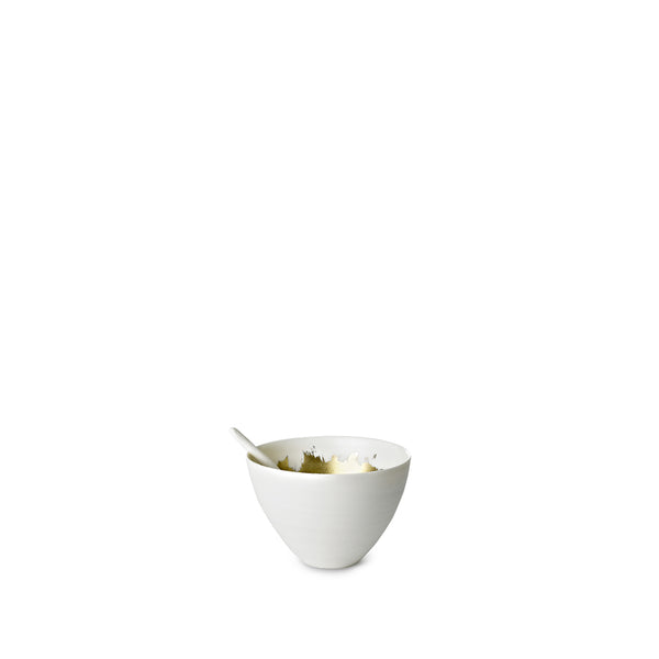 Small Porcelain Bowl with a Matte Gold Interior and Spoon, 6cm