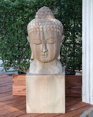 Large Buddha Head Garden Statue - Outdoor Art Pros